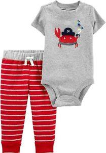 Carter's Baby Boys 2 Pc Short Sleeve Bodysuit & Pants Set NWT 3M   6M  9M or 12M
