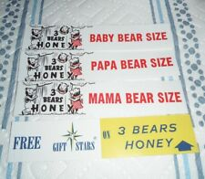 VINTAGE 1960s Bradshaw's 3 Bears Honey SHELF TALKER supermarket signs Set of 4
