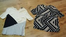 2 x SMART NEW LOOK LOOSE FITTING SHORT SLEEVE TOPS SIZE 10, VISCOSE