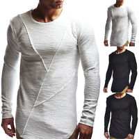 Men Slim Fit Crew Neck Long Sleeve Muscle Tee Casual Basic T-shirt Ripped Tops