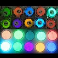 10 Farben Leucht Pulver Harz Pigment UV Epoxy DIY Making Schmuck Nagel Art