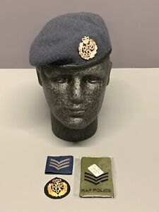 Royal Air Force Beret, Cap Badge & RAF Police Sergeant Rank Slide. Size 55cm.