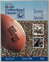 Tennessee vs Arkansas College Football Cotton Bowl Classic Game Program- 1/1/90