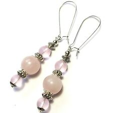 NEW Long Rose Quartz Bead Silver Earrings Drop Dangle Pierced Kidney Wires UK