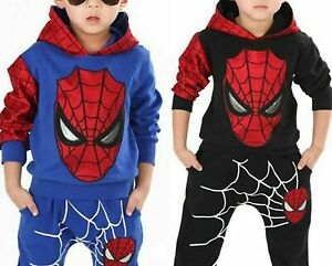 Kids Boys Spiderman Tracksuit Hoodies Tops and Long Pants 2PCS Outfits Set
