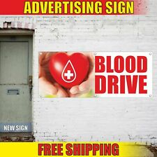 Blood Drive Advertising Banner Vinyl Mesh Decal Sign Donor Transfusion Here Open