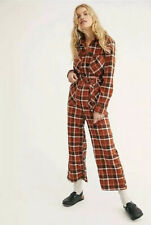 NEW Sz 2 Free People All About You Brown Plaid One Piece Belted Jumpsuit