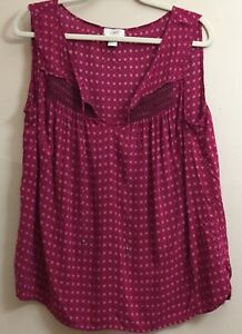 Ann Taylor LOFT Women's Size XL Sleeveless Blouse Ruched Beaded Tie Neck