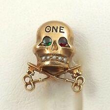 Antique 10K Gold Theta Nu Epsilon Skull Keys Seed Pearls Fraternity Pin 4gr