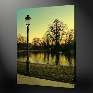 LONDON LAMP POST SUNSET LAKE CANVAS PRINT PICTURE WALL ART READY TO HANG