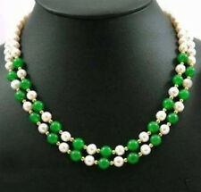 2 Rows Genuine White Pearl Green Jade Beads 18KWGP Clasp Necklace