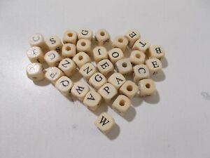 500pcs 10mm WOODEN Alphabet CUBE Beads - BEIGE Assorted Letters  A82