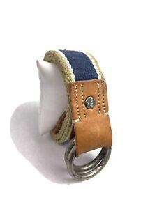 Timberland 34 Navy/Khaki Vintage Fabric Multicolored Striped Mens Belt B6139/432