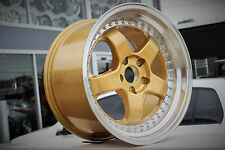 4x ENVIZIO RS1 Gold Lip Polished 18x10 Inch WORK MEISTER JDM Style Alloy Wheels