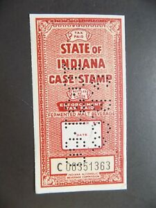 (1) Used State of Indiana Beer Case revenue Tax stamp-12 32 OZ Bottles