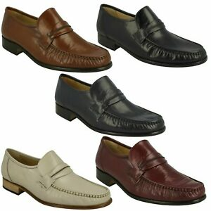 MENS THOMAS BLUNT LEATHER SLIP ON MOCCASIN OCCASION WORK SHOES SIZE BOSTON