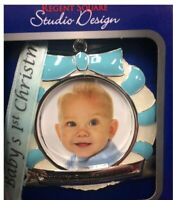 NIB REGENT SQUARE 2019 BABY BOY FIRST CHRISTMAS ORNAMENT PICTURE FRAME W/RIBBON