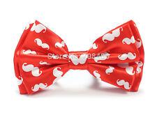 Unisex Rojo y blanco bigote Imprimir Novedad Corbata De Moño-totalmente Nuevo