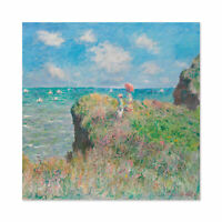 Claude Monet Cliff Walk At Pourville Large Wall Art Print Square 24X24 In