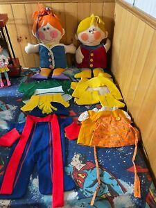 """1970 Playskool 19"""" Dressy Bessy & Dapper Dan Teaching/Dress-up Dolls Set of 2"""