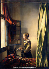 """Vermeer Girl Reading Letter by Open Window 8.5x11"""" Photo Print Classic Painting"""