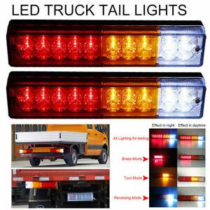 Pair 12V Led Rear Tail Lights Lamp 5 Function Trailer Caravan Truck Lorry 20 Led