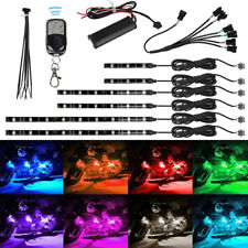 6Pcs 18 Multi Color Flexible Strip RGB Motorcycle ATV LED Light Lamp NEON Remote