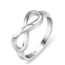 Women's Sterling Silver 925 Rose Gold Plated Heart Infinity Wedding Ring
