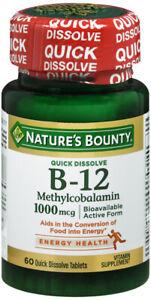 NATURES BOUNTY VITAMIN B12 1000MCG LOZENGE CHERRY 60CT