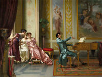 Oil painting Vittorio Reggianini - Romance nice girls with young man Pianist