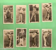 #D111. EIGHT 1928 - 1929  WILLS  CRICKET CIGARETTE CARDS