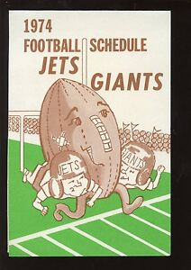 1974 The Record New York Giants & New York Jets Football Schedule NRMT