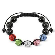 Shamballa Bracelet with 5 Multi Color Ferido CZ Balls with Metallic Beads K145