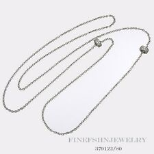 """Authentic Silver Ti Sento Milano 31"""" Cable Link Two Circle Necklace 3791ZI/80"""