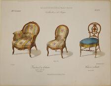 Stampa antica Le Garde-Meuble design arredamento gravure engraving incisione