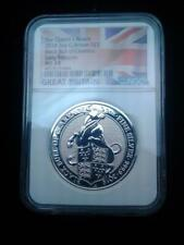 2018 2oz .999 Silver Great Britain Queens Beasts Black Bull of Clarence MS 69