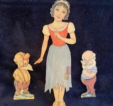 Vintage Walt Disney Snow White Paper Dolls Original Box, Some Uncut 1930's