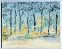 """9"""" Vintage Oil Painting on Canvas Forestscape w/ Trees and Flowers HOSMER"""