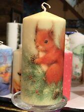 WINTER SQUIRREL Hand Decorated Pillar Candle VANILLA SCENT 13x6m