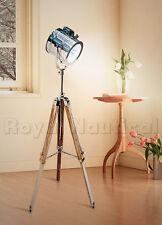 Teak Wood Nautical Wooden Tripod Floor Lamp Lighting Spot Light Decor