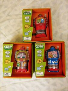 UGLYDOLL Wind-up 3pc Tin Robot Set Red Blue Multi color UGLYBOT