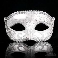 Venetian Art Engraving and Glitters Design Masquerade Mask for Men [Silver]
