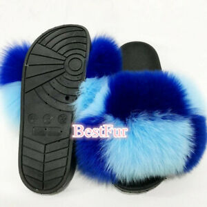 Womens Slides Max Large XXL Real Fox Fur Slippers Sandals Sliders Casual shoes