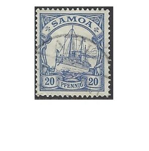 German SAMOA 1901 20pf BLUE, SHIP(1) Fine Used SG G10, see sample scan