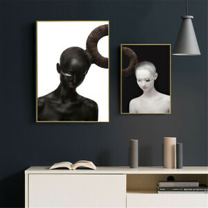 Modern Black White Bald Red Lips Girl Canvas Poster Wall Art Pictures Home Decor