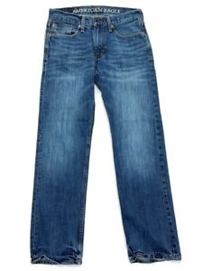 American Eagle Outfitters Mens Slim Straight Leg Jeans Blue Whiskered 29 x 30