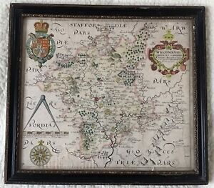 Antique Map Of Worcestershire - Saxton