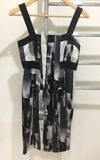 Saba Women's 100% Silk Evening Cocktail Dress Geometric Print Black Size 6