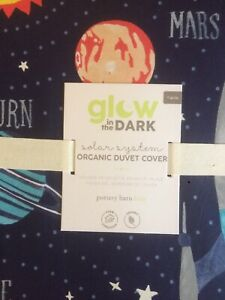 POTTERY BARN KIDS Solar System Glow in the Dark TWIN Duvet TWIN Sheets Set - NEW