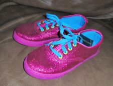 FADED GLORY  NWT!  Big Girls size 1 Hot Pink Sparkle Lace-Up Casual Shoes  CUTE!